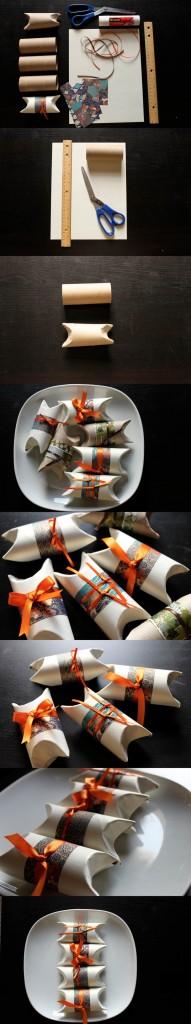Оригинальная упаковка подарков из рулонов туалетной бумаги
