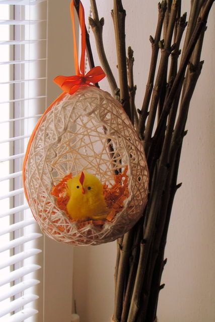 Пасхальные яйца из ниток мастер-класс (1)
