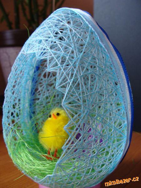 Пасхальные яйца из ниток мастер-класс (3)