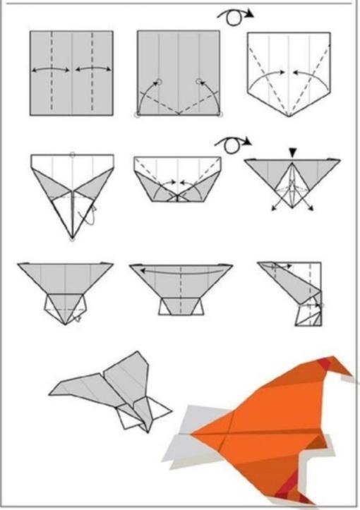 Самолетик оригами схема 1 (2)