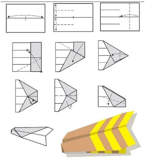 Самолетик оригами схема 1 (3)