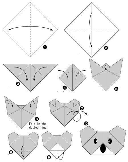 простые оригами из бумаги собака 11