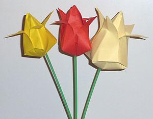 схемы оригами тюльпаны