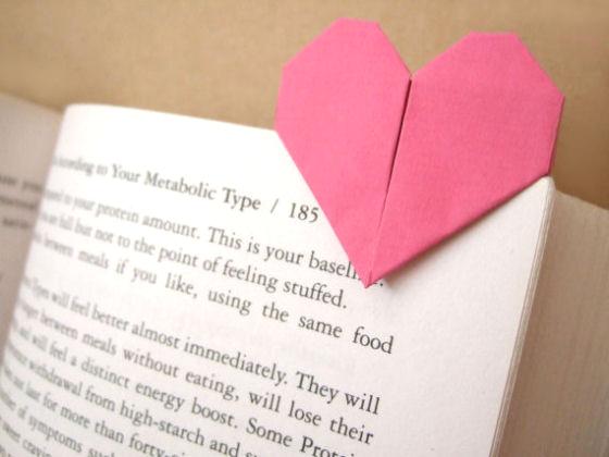 Оригами сердце закладка для