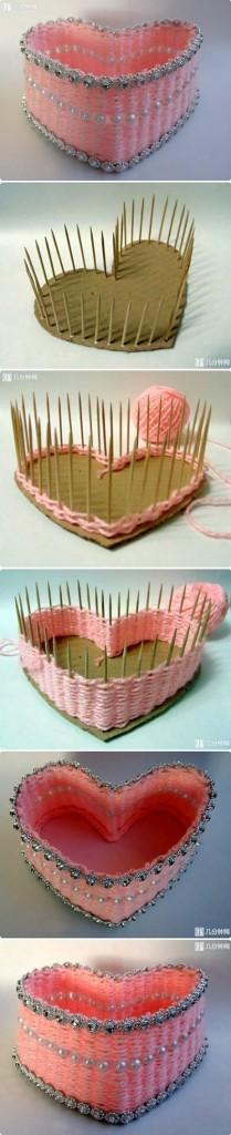 поделки из ниток  шкатулка сердце