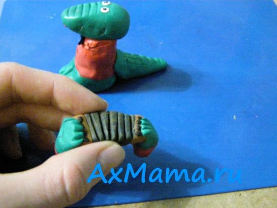 Поделки из пластилина крокодил Гена