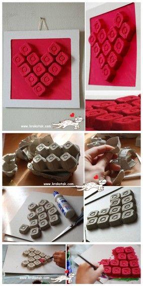 поделки из упаковки для яиц сердце