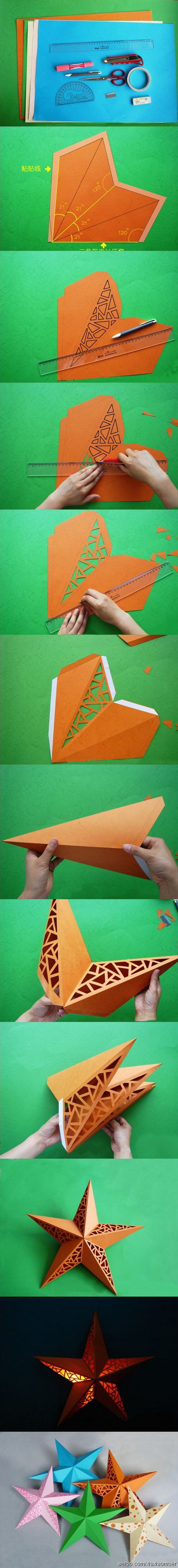 Киригами объемная  звезда из бумаги (2)
