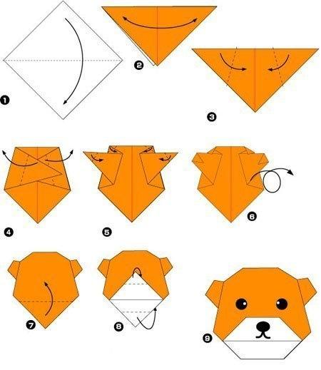 Простые оригами из бумаги медведь