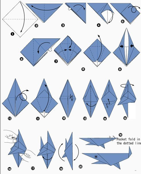 оригами из бумаги акула