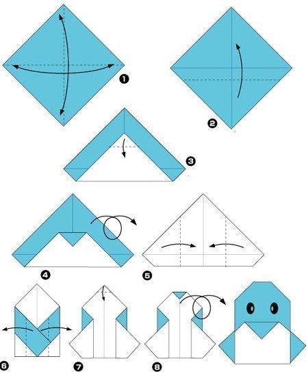 простые оригами из бумаги схема пингвина