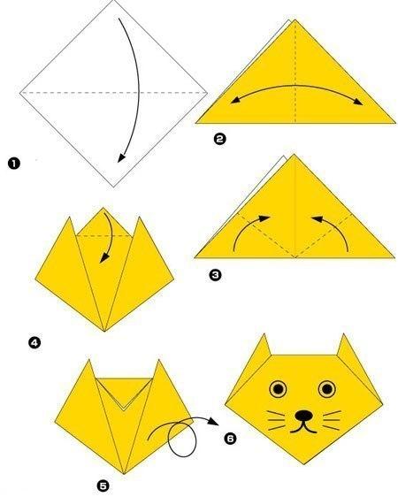 простые оригами кот