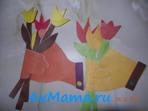 Поделки из бумаги и картона рука с цветами