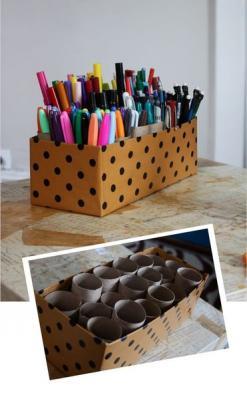 Подставка для карандашей из туалетных рулонов (13)