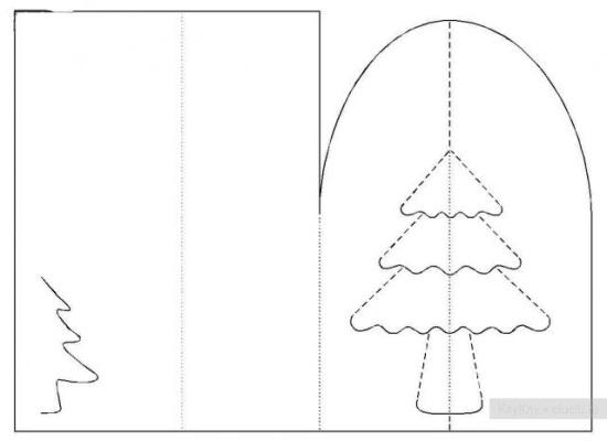 Киригами объемные открытки к Новому году (8)