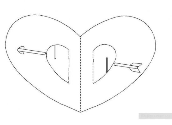 Киригами объемные открытки с сердцем (2)