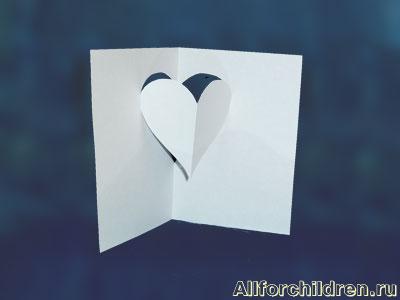 Киригами объемные открытки с сердцем (7)