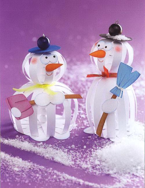 Снеговики в технике бумажных шаров