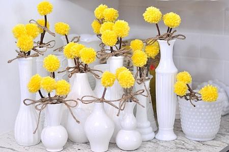 Цветы из ниток одуванчики (2)