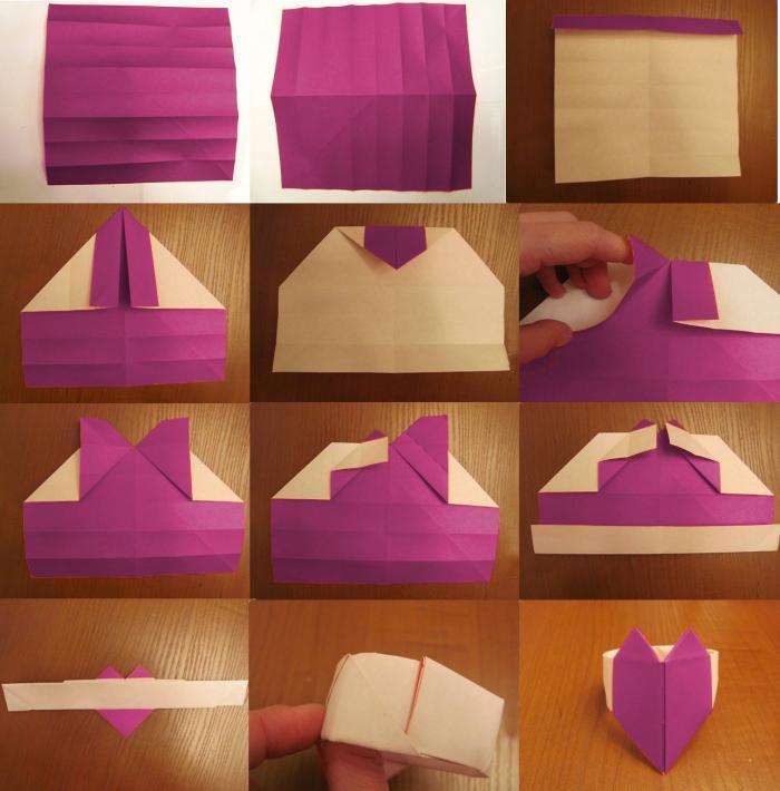 оригами кольцо сердцем