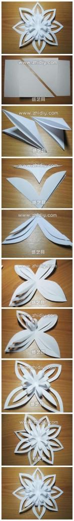 Киригами объемные снежинки из бумаги