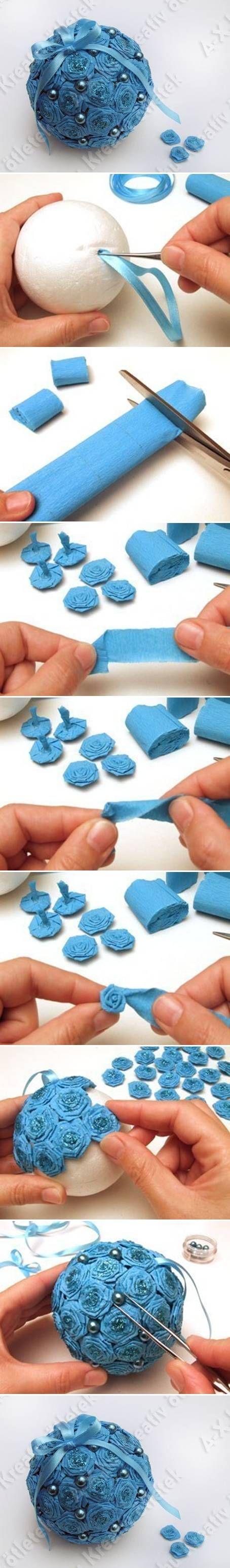 Новогодние шары из гофрированной бумаги своими руками