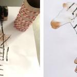 Отпечатки с помощью рулонов от туалетной бумаги