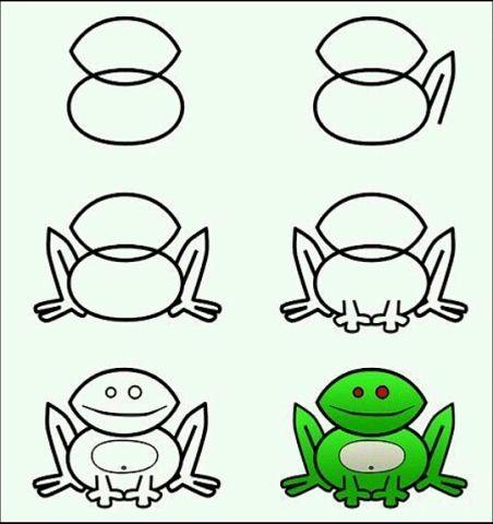 Пошаговые рисунки животных с помощью кругов и овалов (1)