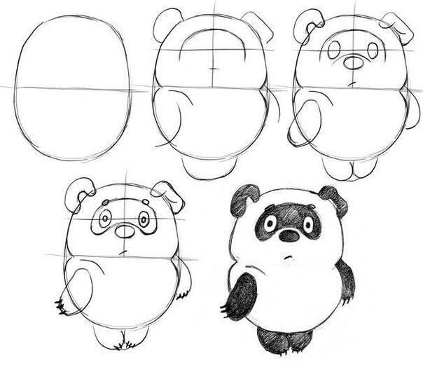 Пошаговые рисунки животных с помощью кругов и овалов (10)