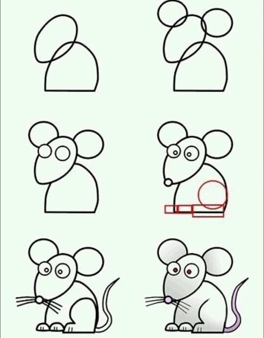 Пошаговые рисунки животных с помощью кругов и овалов (14)