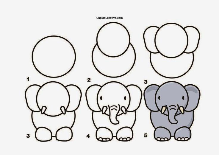 Пошаговые рисунки животных с помощью кругов и овалов (15)