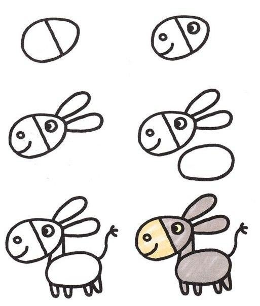 Пошаговые рисунки животных с помощью кругов и овалов (16)
