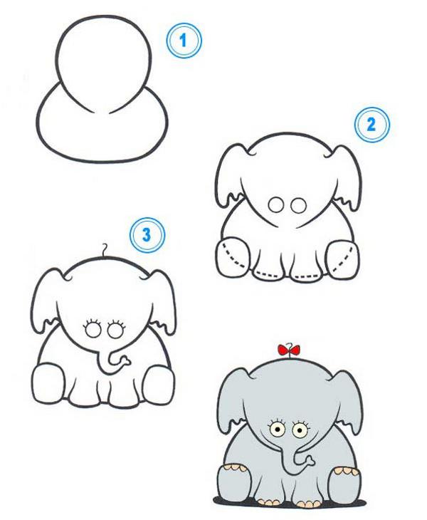 Пошаговые рисунки животных с помощью кругов и овалов (18)