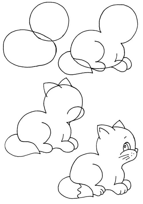 Пошаговые рисунки животных с помощью кругов и овалов (2)
