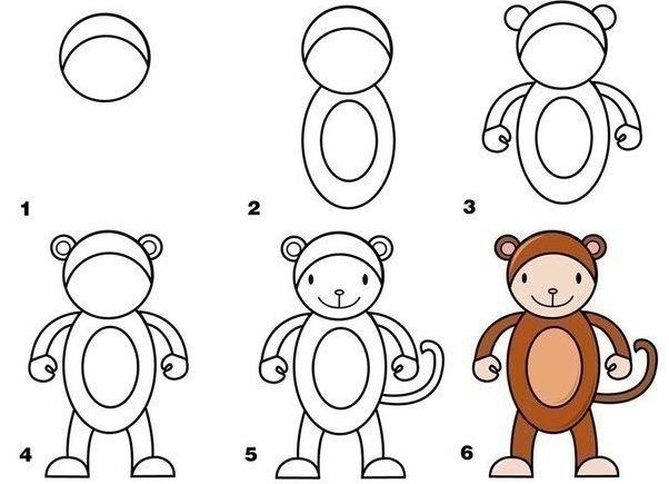 Пошаговые рисунки животных с помощью кругов и овалов (20)