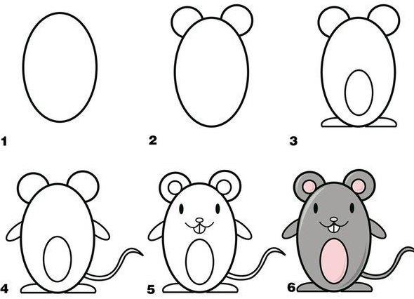 Пошаговые рисунки животных с помощью кругов и овалов (21)