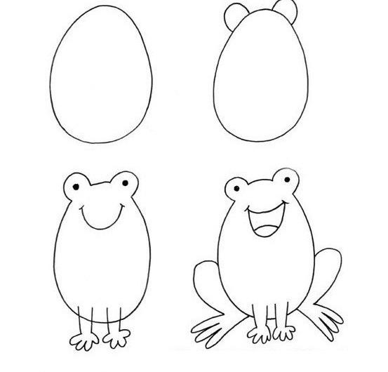 Пошаговые рисунки животных с помощью кругов и овалов (22)