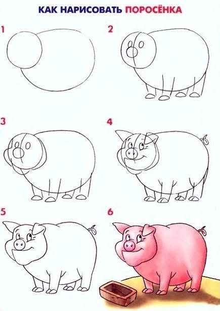 Пошаговые рисунки животных с помощью кругов и овалов (23)