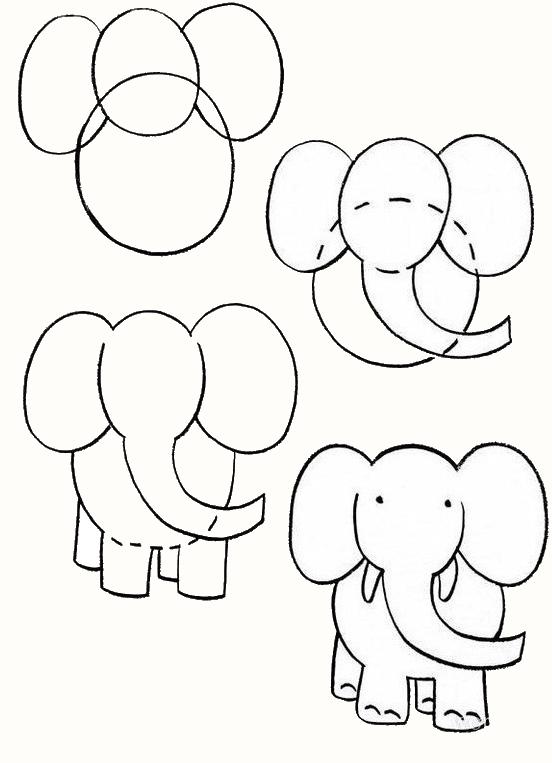 Пошаговые рисунки животных с помощью кругов и овалов (24)