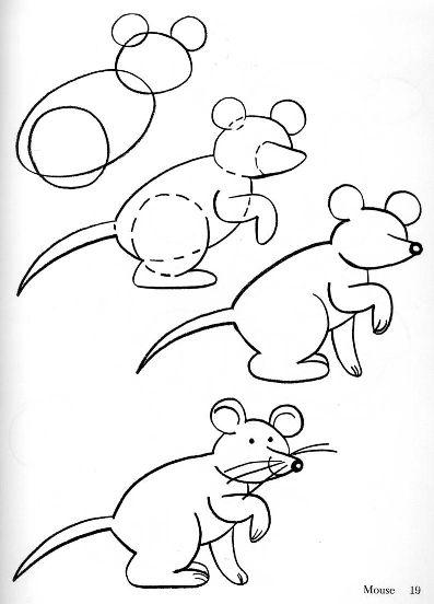 Пошаговые рисунки животных с помощью кругов и овалов (27)