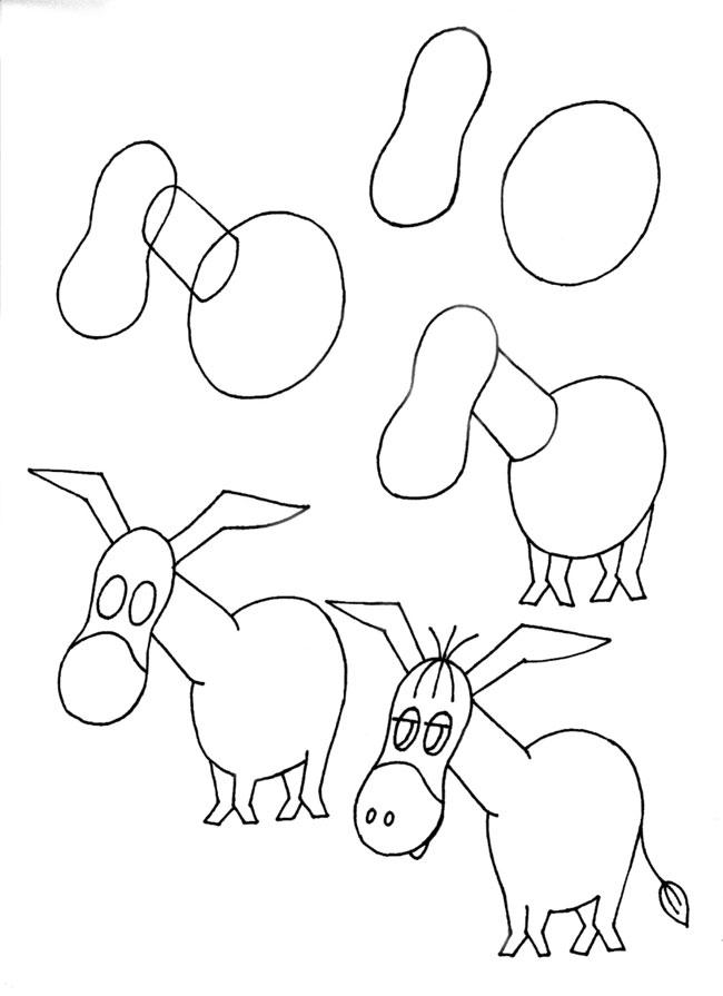 Пошаговые рисунки животных с помощью кругов и овалов (30)