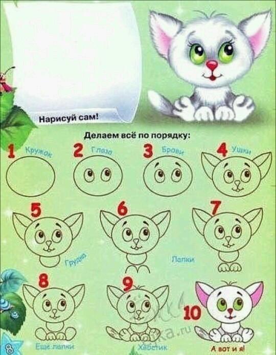 Пошаговые рисунки животных с помощью кругов и овалов (31)