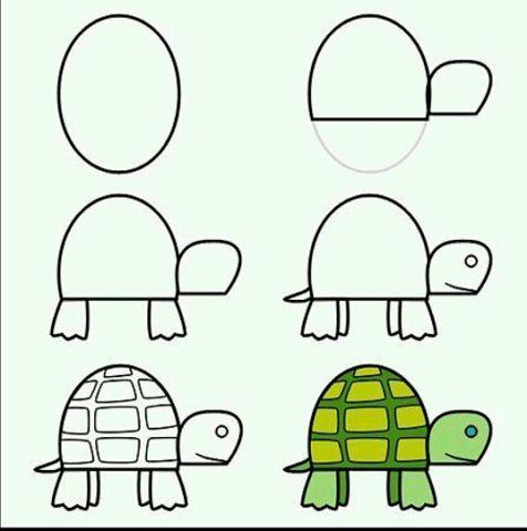 Пошаговые рисунки животных с помощью кругов и овалов (4)