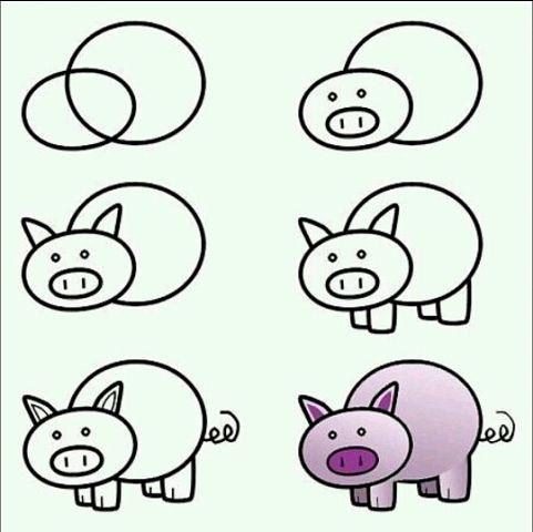 Пошаговые рисунки животных с помощью кругов и овалов (5)