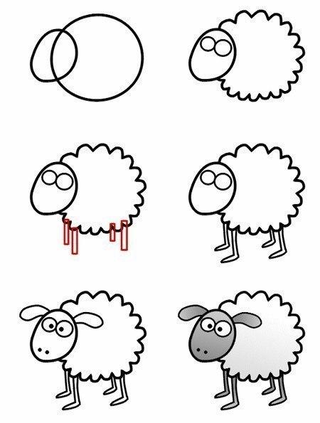 Пошаговые рисунки животных с помощью кругов и овалов (8)